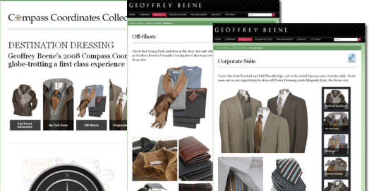 Redesign of the Geoffrey Beene website supported the launch of the Fall Collection. Features include an interactive scrollbar and new layouts highlighting the detail and quality of the collection.