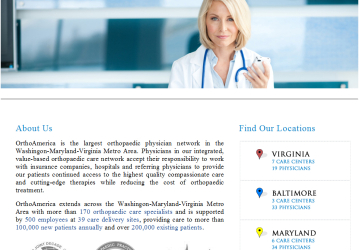 Demo website and logo for the largest orthopedic physicians network in the Washington-Virgina-Maryland metro area.